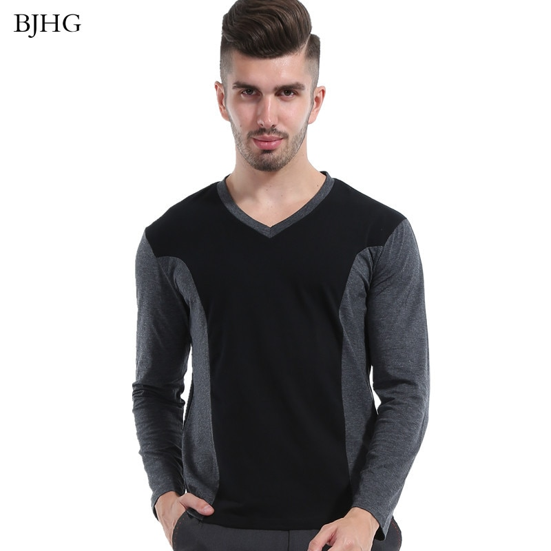 BJHG Men Black Gray Patchwork Cotton T-Shirt 2016 V Neck Slim Fitted T Shirt Men Autumn Winter Tops Size M-5XL