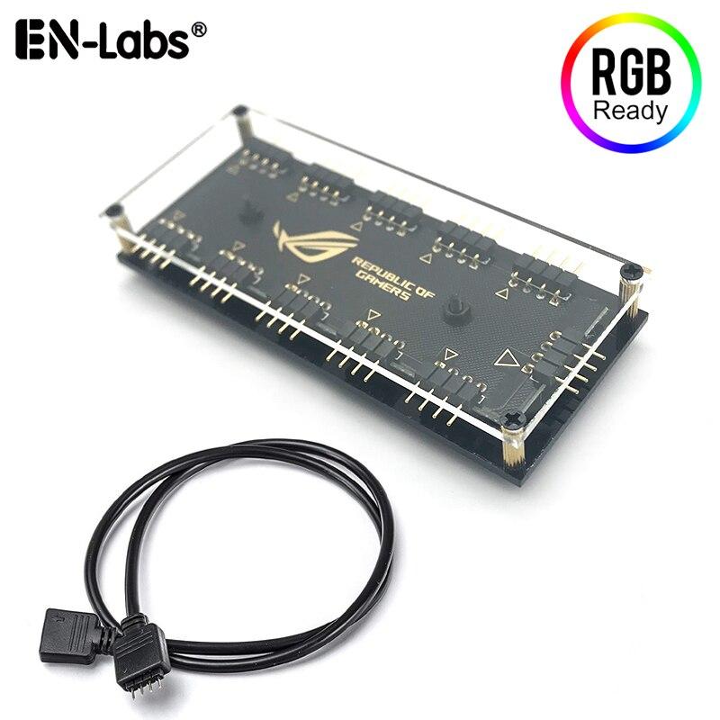 12 В 4-контактный RGB 10 портов разветвитель втулки ж/ПММА чехол, ASUS AURA SYNC RGB адаптер для GIGABYTE MSI ASRock RGB светодиодные полосы освещения, вентиляторы