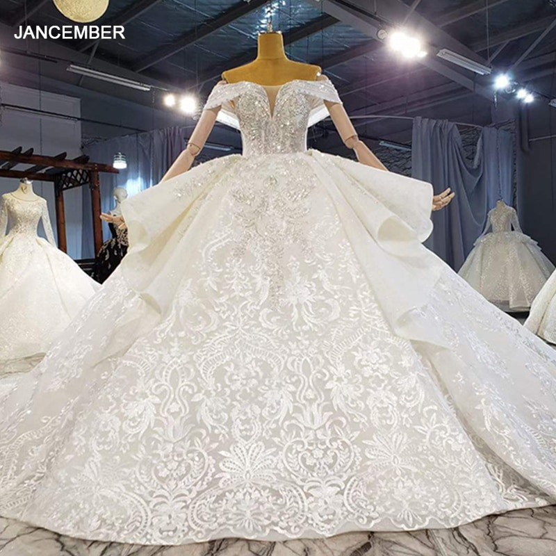HTL1999 Shawl Yarn Sequined Wedding Dress 2021 Short Sleeve Sexy Deep V-Neck Ball Gowns Appliques Crystal