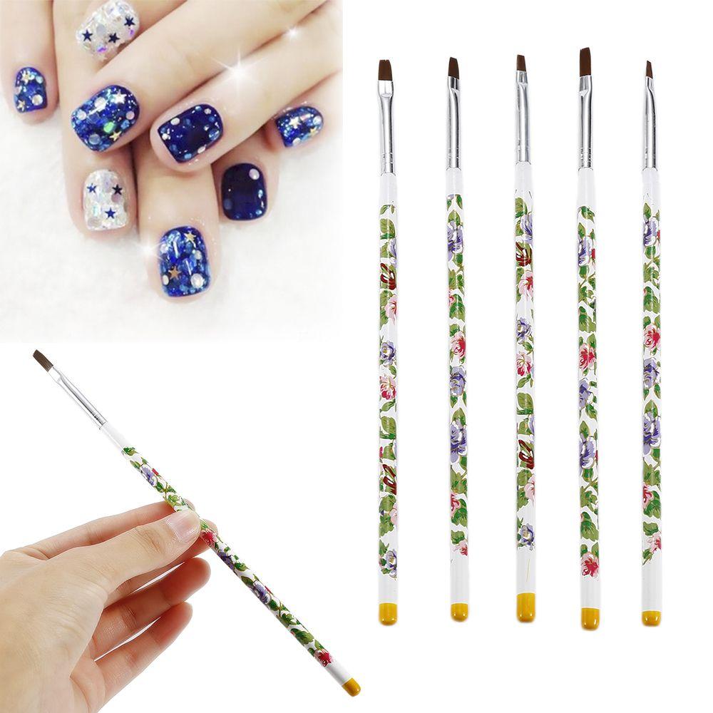 New Nail Brushes 5pcs UV Gel Acrylic Nail Art Brush Painting Pen Set Nail Design Manicure Tools Wome