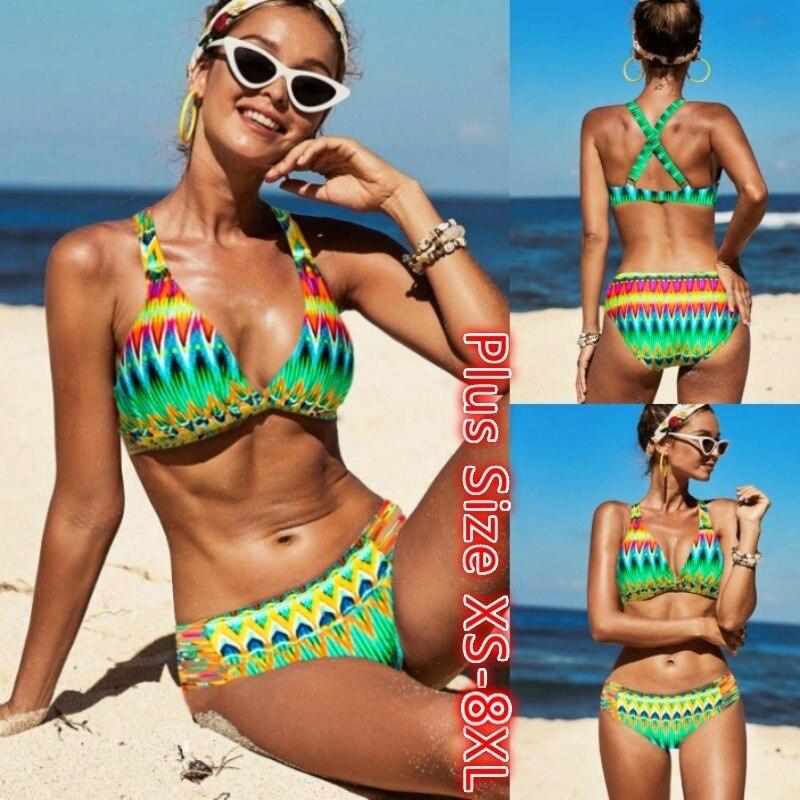 Talla grande 8XL mujer traje de baño Sexy Bikini traje de baño mujeres vendaje Bikini conjunto Push-up sujetador traje de baño playa
