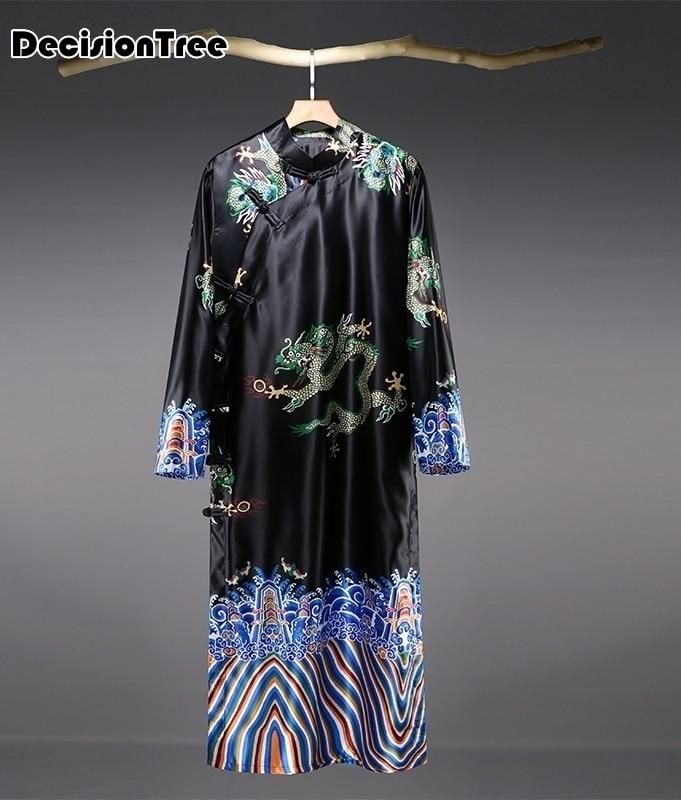 2020 de los hombres de bata de seda, kimono manga larga bata longo pijama de los hombres vestido de chino Albornoz de dragones para hombre