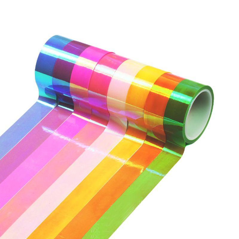 8 unids/set 8 unids/set Gimnasia Rítmica decoración brillo holográfico cinta palo de anillo accesorio 15mm * 5m papelería bricolaje Decoración