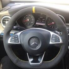 Housse de volant en daim noir, couture à la main, pour Benz AMG c260gl E C e3001 c200 e260l, 350