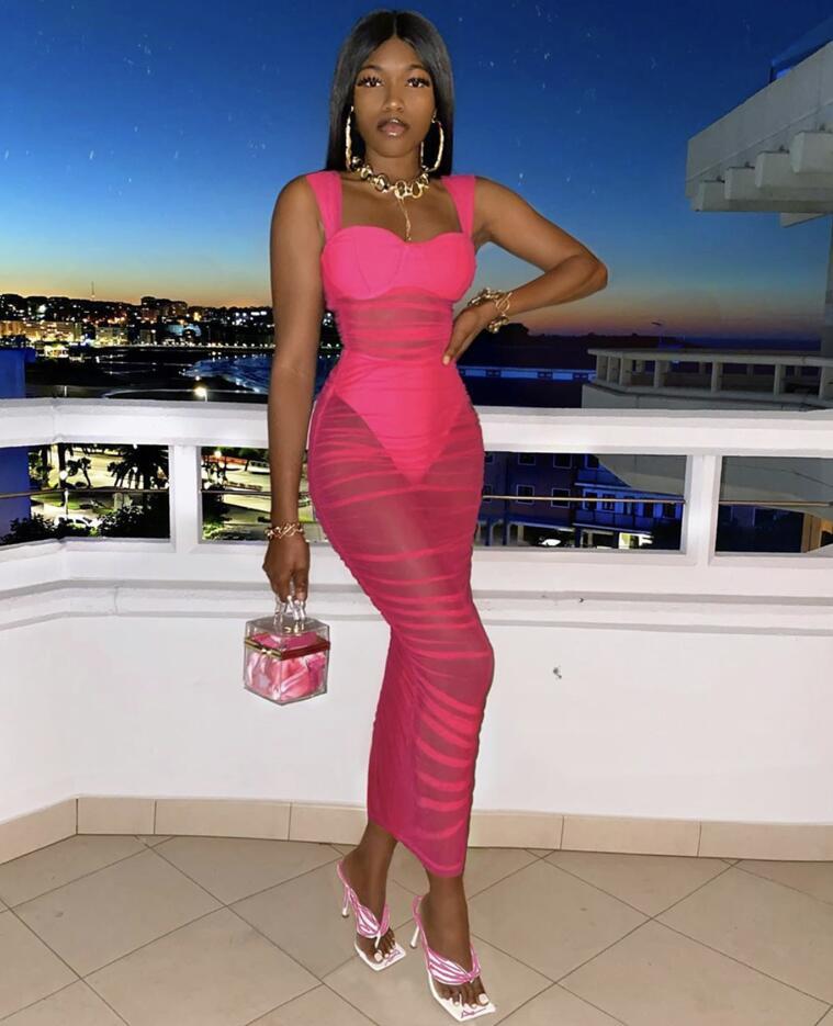 Vestido de festa feminino, malha sexy, comprimento do joelho, rosa, preto, bodycon, elegante, de 2020