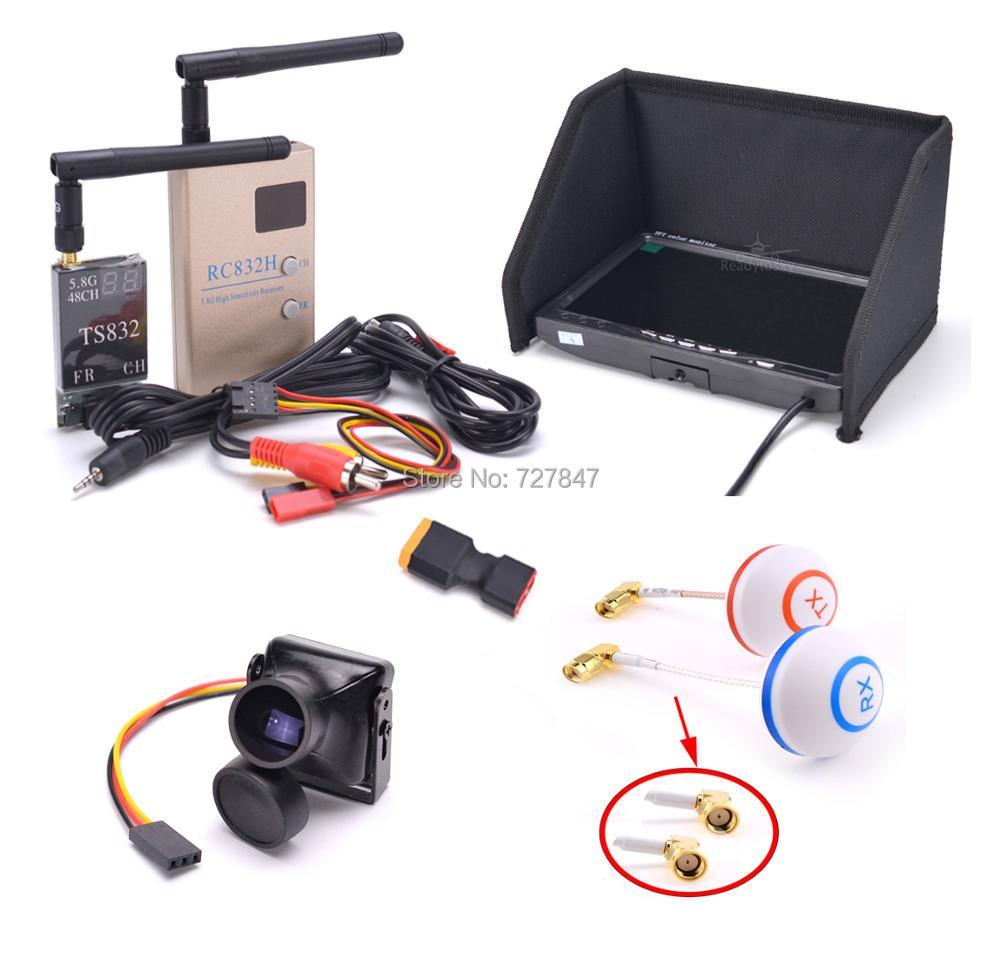 FPV Kit Combo system, 1200TVL камера + 5,8 ГГц 600 мВт 48CH TS832 RC832S RC832 + 7-дюймовый ЖК-монитор 1024x600, ips для FPV F450 S500