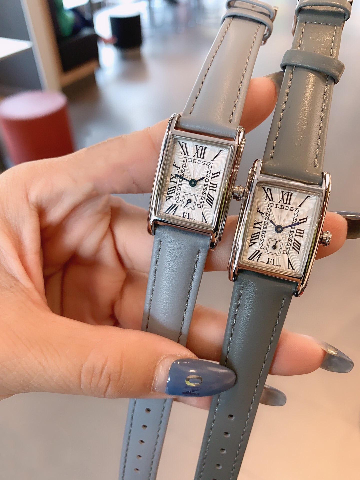 Women Geometric Rectangular Quartz stopwatch Stainless steel Roman Numbers Wrist watch female Clock 33mm genuine leather