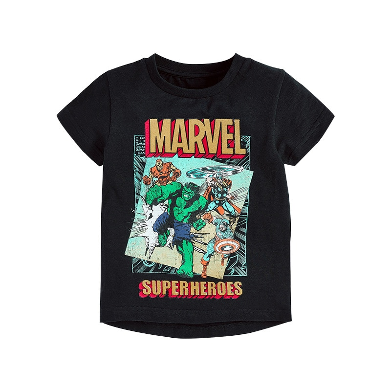 Marvel Avengers verano Hulk Iron Man niños de manga corta Camiseta de dibujos animados de moda de algodón casual ropa para niños