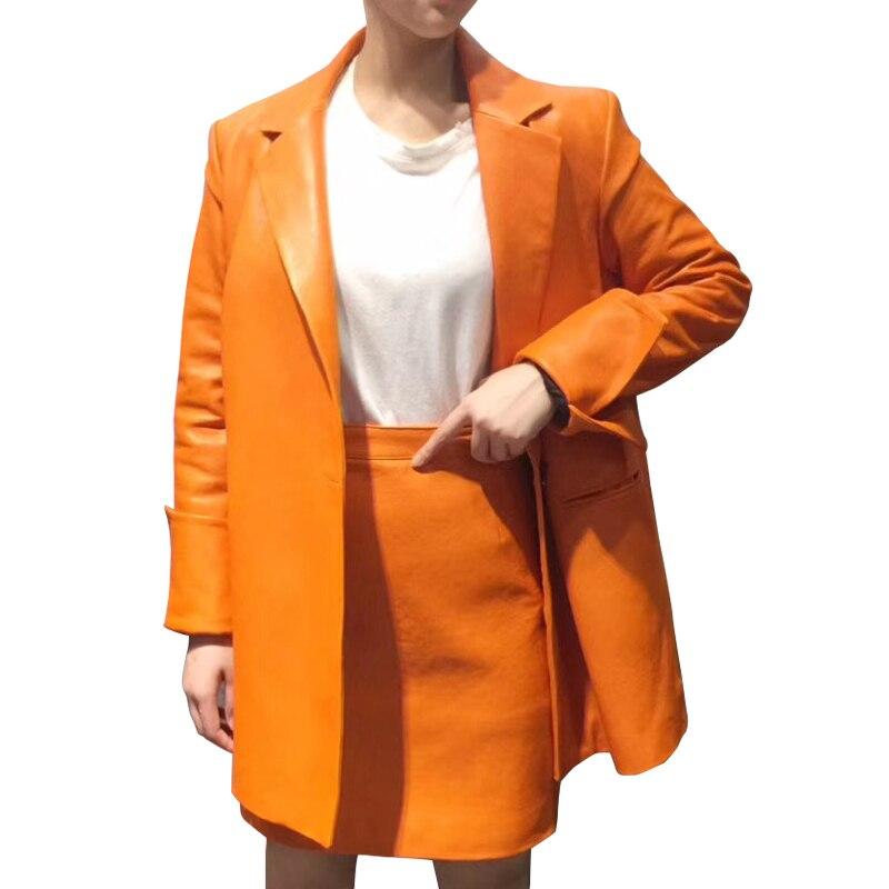Chaqueta de cuero auténtico de fábrica, conjunto de falda de traje de diseño para mujer, chaquetas de moto de piel de oveja con cuello vuelto