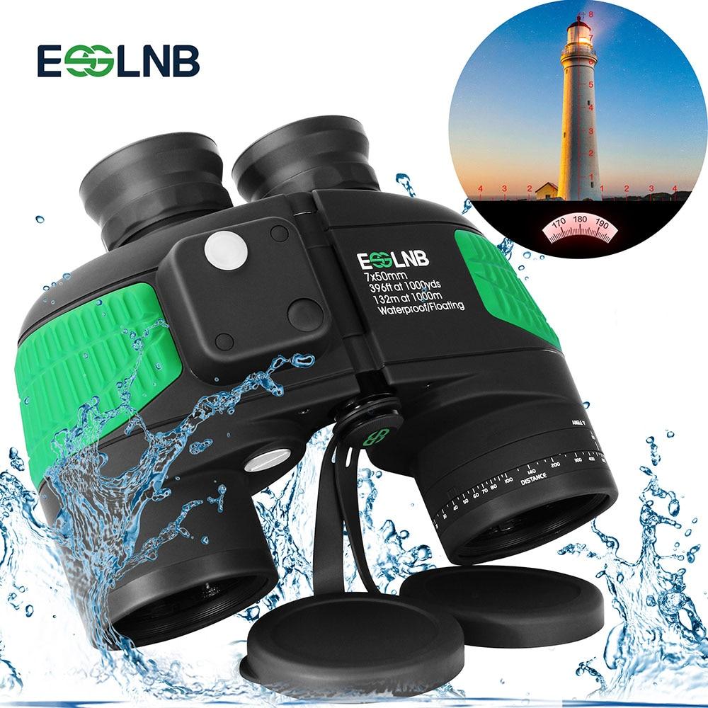 7X50 High Power Binoculars with Rangefinder Compass for Hunting Boating Military Marine Telescope Folating Nitrogen Waterproof