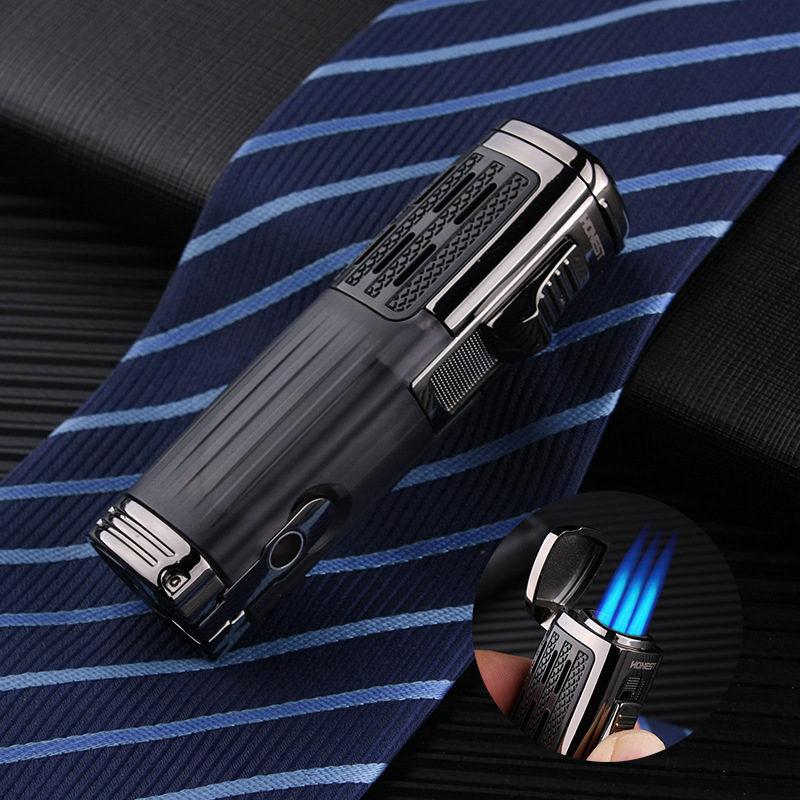 Metal Lighters Windproof Gas Lighter Cigarettes Lighter Torch 1300 C Multifunction Cigar Butane Ligh