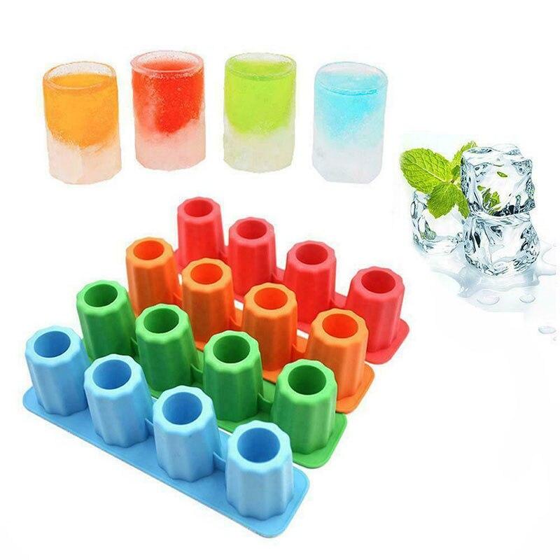 Molde de bandeja de cubitos de hielo hecho con gafas cortas, molde de hielo novedoso, herramienta para beber en verano, vidrio Ices HKS99