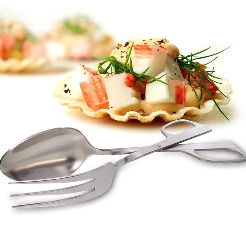 Pinzas para ensalada de acero inoxidable, pinzas para comida, ensaladas, bufé de barbacoa, pinzas para comida, pinzas tipo tijeras, utensilios de cocina, pinzas para pan