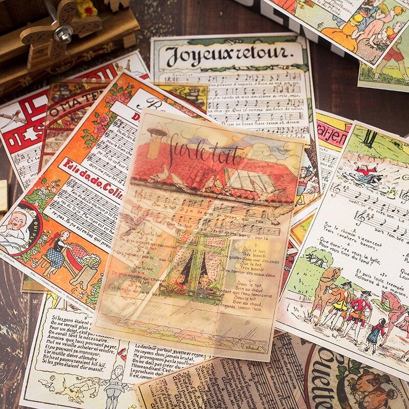 16 teile/satz Vintage Musik Notizen Blatt Pergament Papier Muster Pack für Scrapbooking Glücklich Planer Karte, Der Junk Journal Projekt