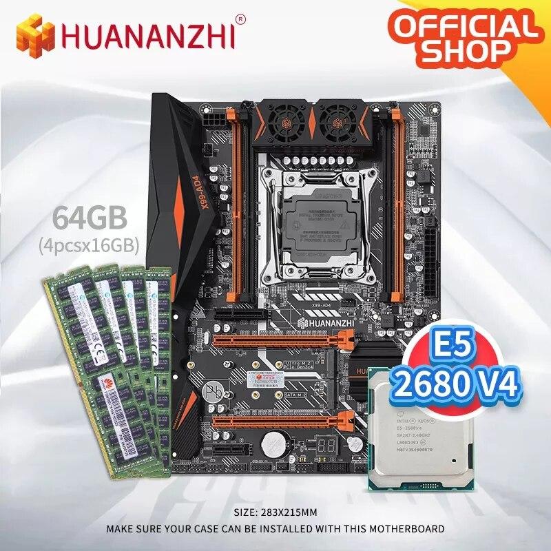 HUANANZHI X99 AD4 X99 اللوحة مع إنتل زيون E5 2680 v4 مع 4*16G DDR4 RECC الذاكرة كومبو كيت NVME NGFF SATA USB 3.0
