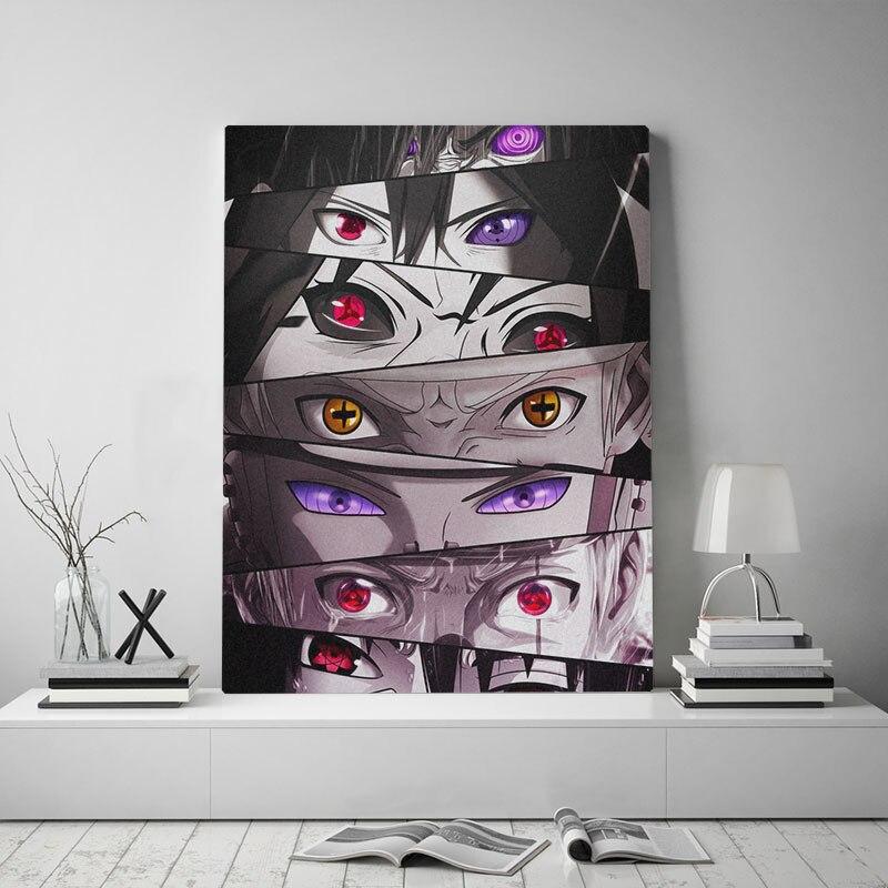 Impresión de pintura de pared diseño Modular Anime lienzo Poster imagen Naruto ojos Sharingan Rinnegan moderna decoración del hogar Cabecera de fondo