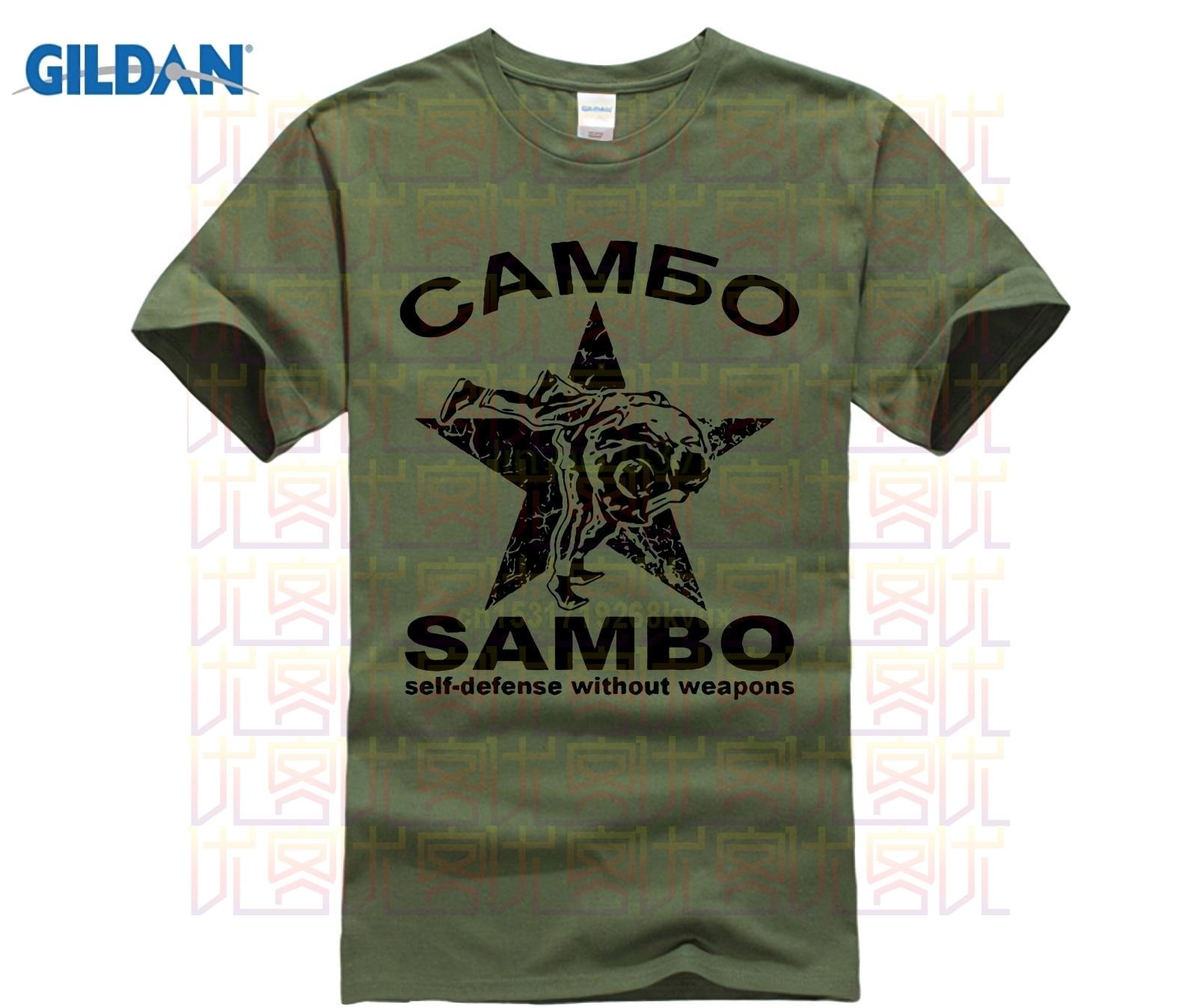 Moda gran oferta 100% algodón Sambo camuflaje defensa personal sin arma ruso kung fu ejército verde Camiseta camiseta