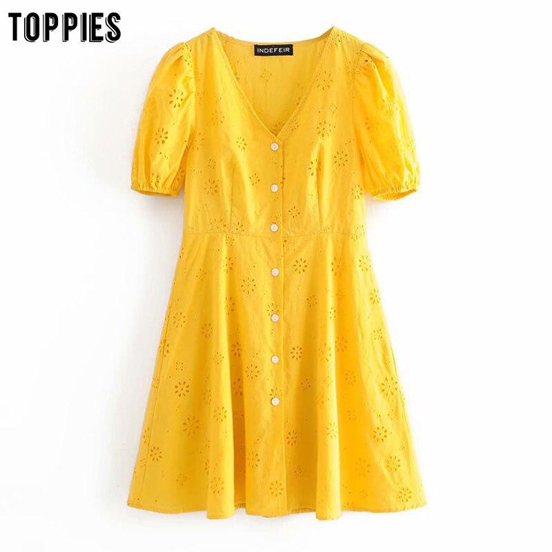 Minivestidos de verano en blanco y amarillo de algodón, vestido de verano bordado con agujeros, Vestido de manga corta con cuello en V