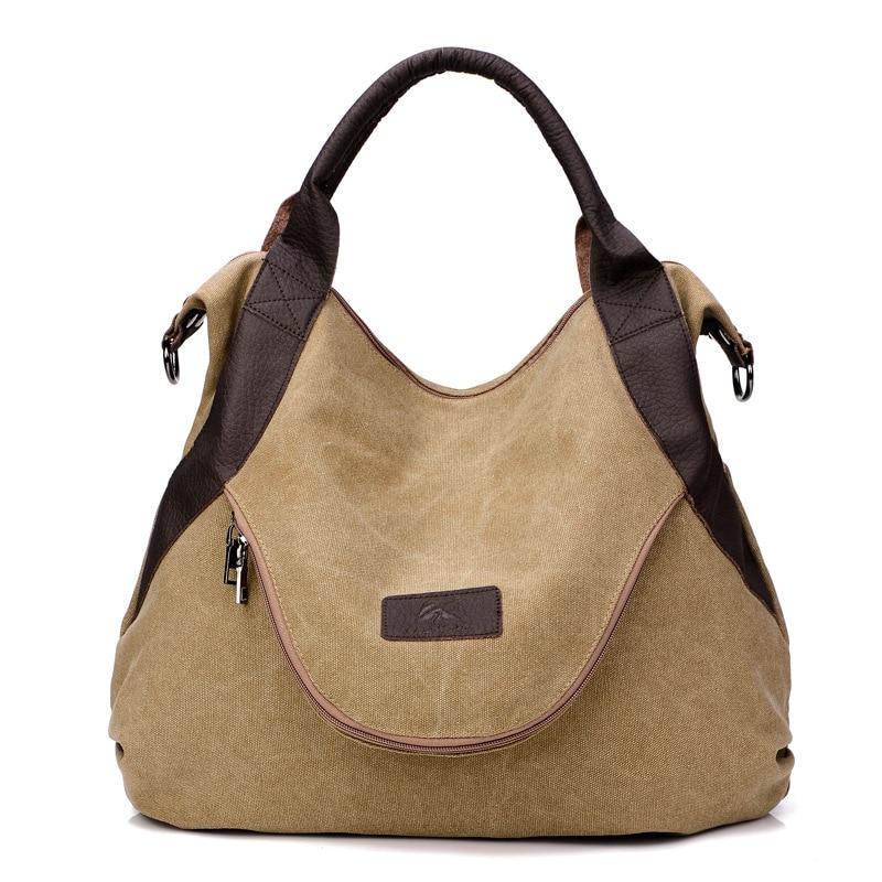 Canvas lady bag, Stylish solid color shoulder bag, Large capacity versatile casual commuter handbag