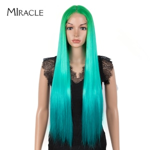 Miracle Long Straight Green Wig 30Inch Synthetic Wigs for Women Cosplay Middle Part Hair Wig High Temperature Fiber Lolita Wig
