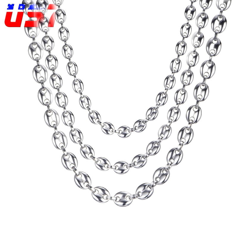 US7 Coffee Beans Link Chain 7MM 9MM Necklaces For Men Stainless Steel Rope Link Chain Necklaces Fash