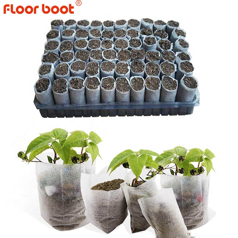 100pcs/lot biodegradable seed nursery bags non woven nursery flower pots vegetable transplant breedi
