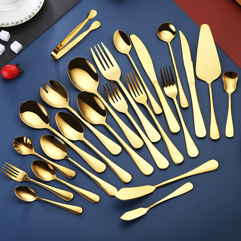 HEYI 28choose Stainless Steel Knife and Fork Spoon 1010 Plated Titanium Gold Steak Knife Fork Spoon Cake Spade Ice Cream Set