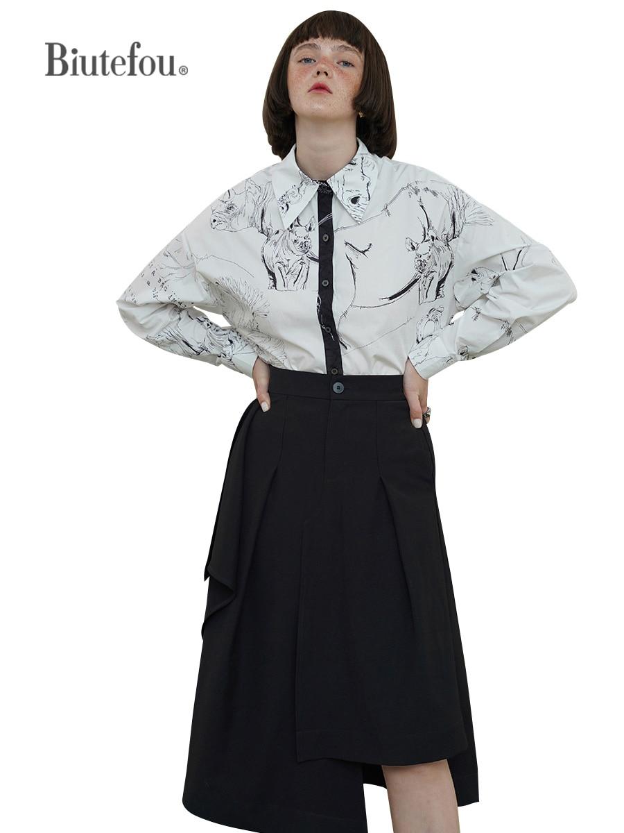2021 Autumn Women Vintage Original Design High Waist Irregular Skirt