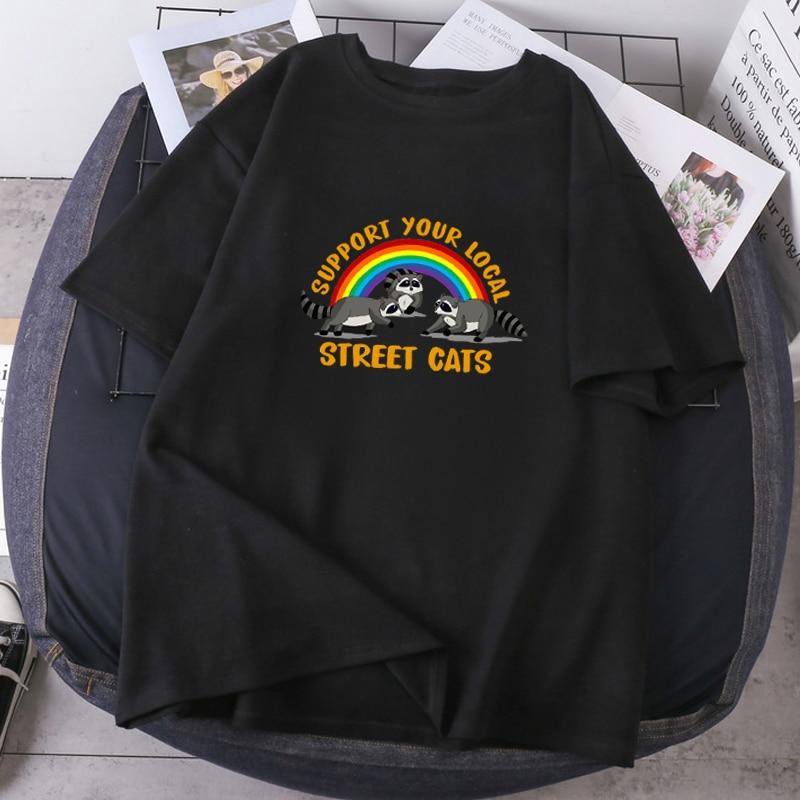 Apoya a tu Local de la calle gatos mujer Camisetas de moda...