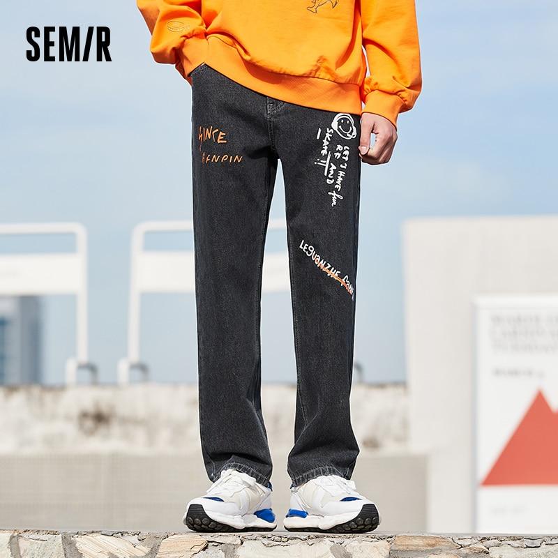 SEMIR Jeans Men 2021 Summer New Loose Straight Trousers Trend Fun Graffiti Pants Fashion Ins Demin For Man