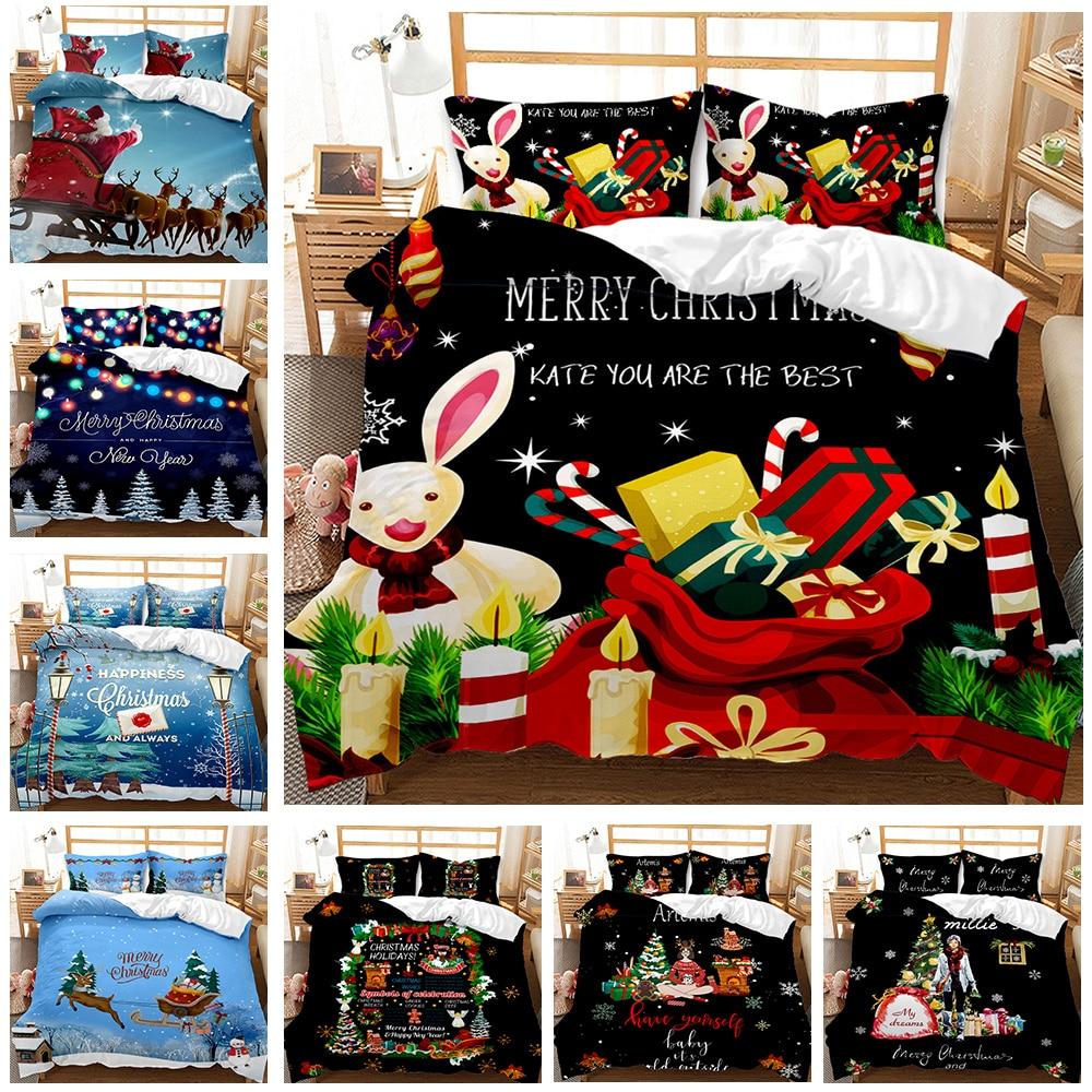 هدية الكريسماس صندوق طقم سرير مطبوع شجرة عيد الميلاد حاف مجموعة غطاء سانتا كلوز غطاء لحاف للأطفال هدية الكريسماس 2/3 قطع
