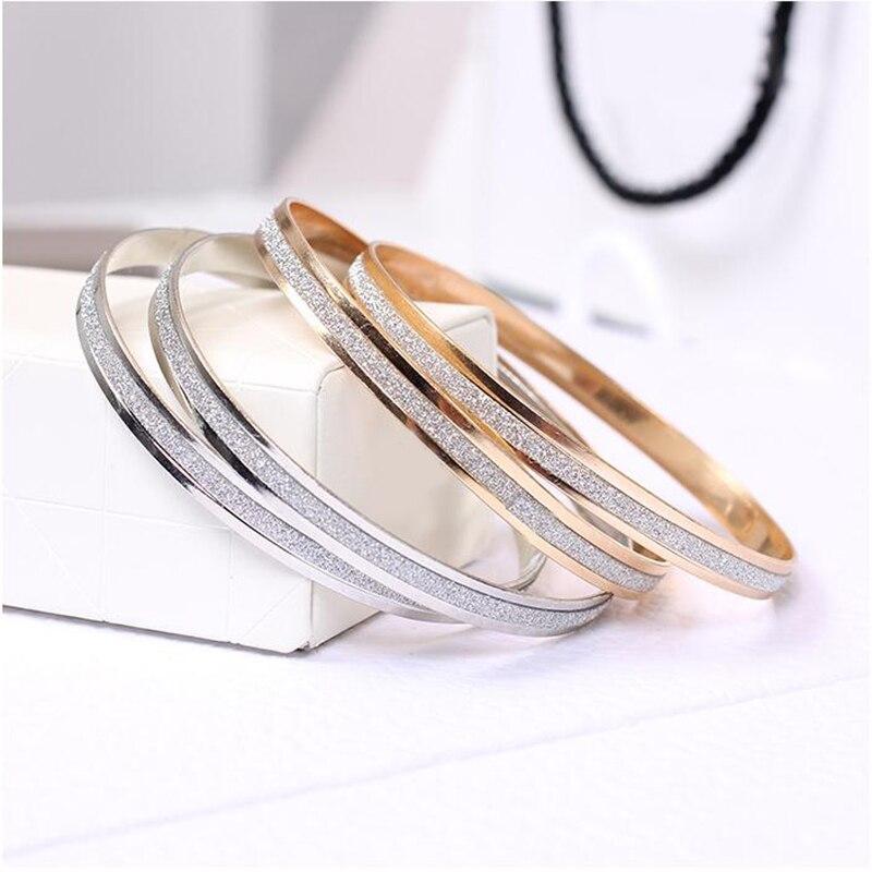 Brazaletes de moda, pulsera de oro rosa para mujer, redondos, dorados, para parejas, de aleación plateada, brazalete sencillo para boda