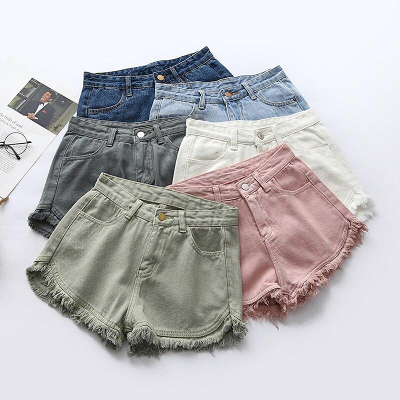 2020 New Summer Women Colorful Fringe Denim Shorts Cotton Loose High Waist 6 Colors Plus Size Fashion Shorts Denim Hot Pants