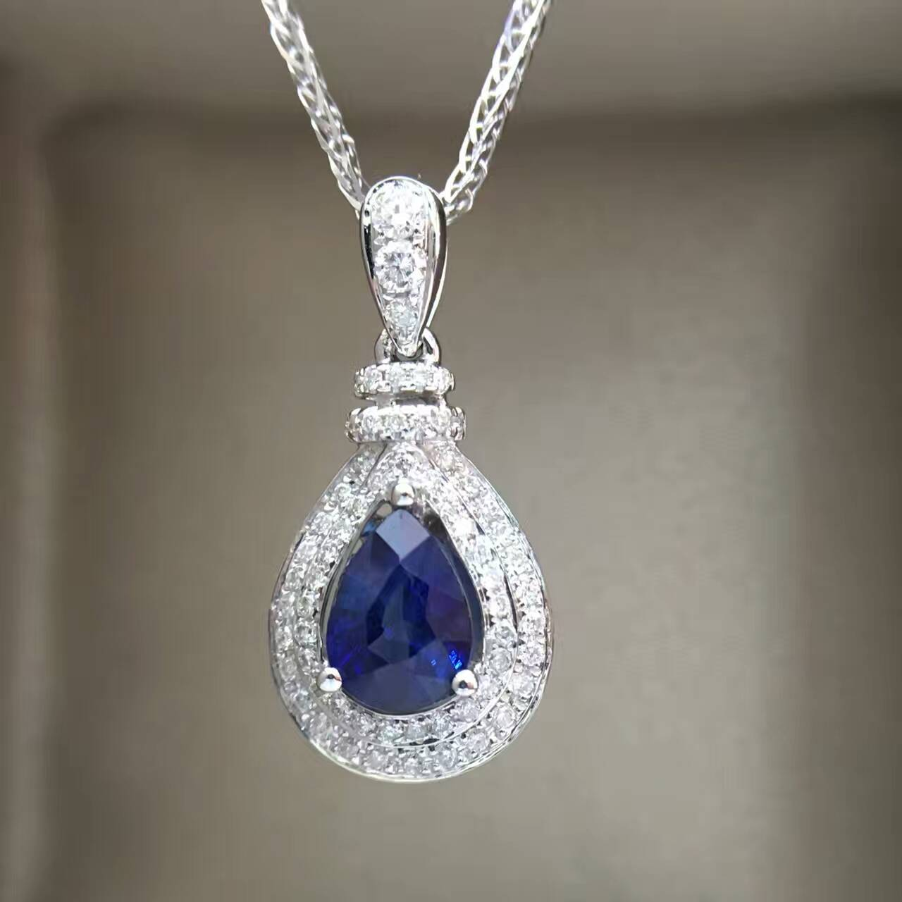 Starfield 18 k ouro branco 0.23 quilates de diamante incrustado sri lanka 0.93 quilates safira feminino pingente colar com corrente certificada
