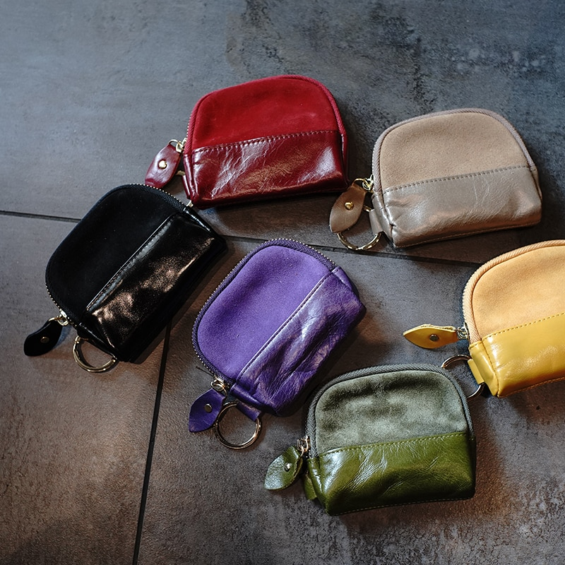 Матовый кожаный прошитый Кошелек для монет, женский короткий кожаный кошелек для монет на молнии, мини-кошелек, портмоне, кошелек, маленькие...