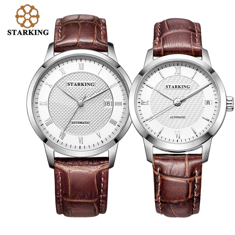 STARKING couples Watches Automatic leather strap watches Roman Dial 28800 Beats Mechanical lovers Wristwatch Relogios Masculinos