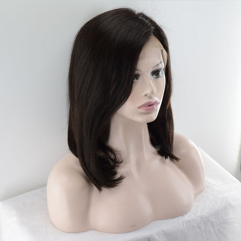 Remy Human Hair Lace Front Wig Hand-Tied Brazilian Hair Short Bob Costume wig 150% Density Lace frontal with Bongs enlarge