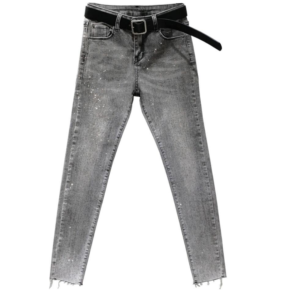 بنطلون جينز نسائي ، طول الكاحل ، جينز غير رسمي ، جينز ضيق