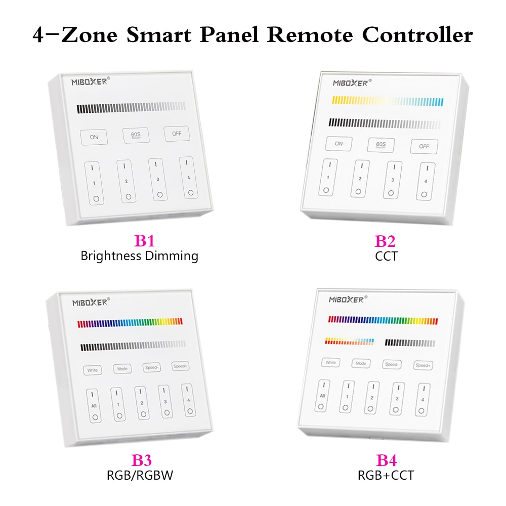 mi light b1 4 zone brightness dimmer smart touch panel remote controller powerd by 3v 2 aaa battery wall mount 2 4g wireless 4-Zone Smart Touch Panel Embedded Led Wireless Dimmer 2.4GHz Remote Controller For RGB/RGBW/CCT Brightness Led Strip LED Bulb