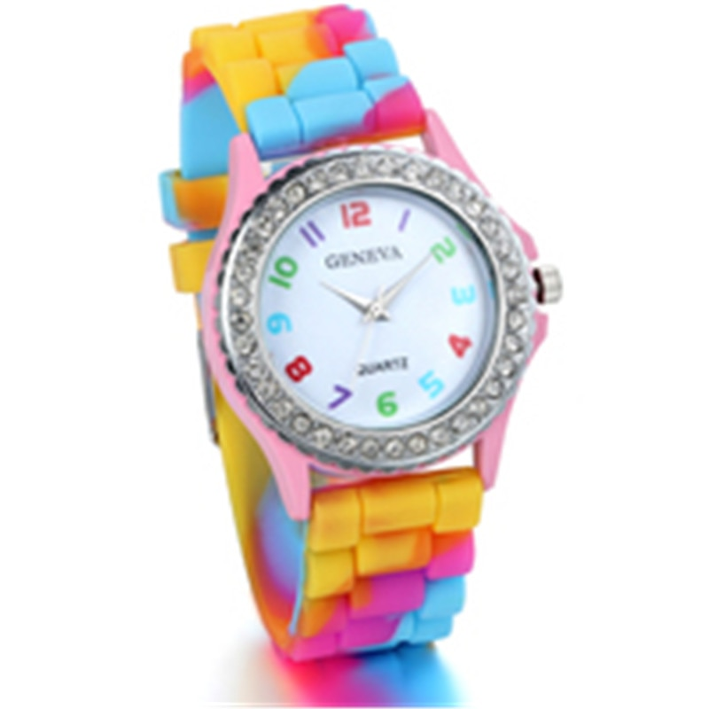2020 senhoras relógios criativo colorido gradiente arco-íris relógios feminino genebra silicone cristal quartzo relógio feminino vestido relógios