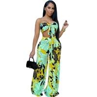 women set print sleeveless strapless bandage crop tops wide leg pants 2 two piece sets casual fashion streetwear summer
