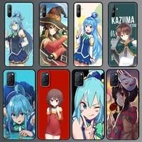 konosuba megumin satou aqua phone case for realme c3 6 7 5 pro xt x50 c11 cover for oppo a9 2020 a52 find x2 lite black shell