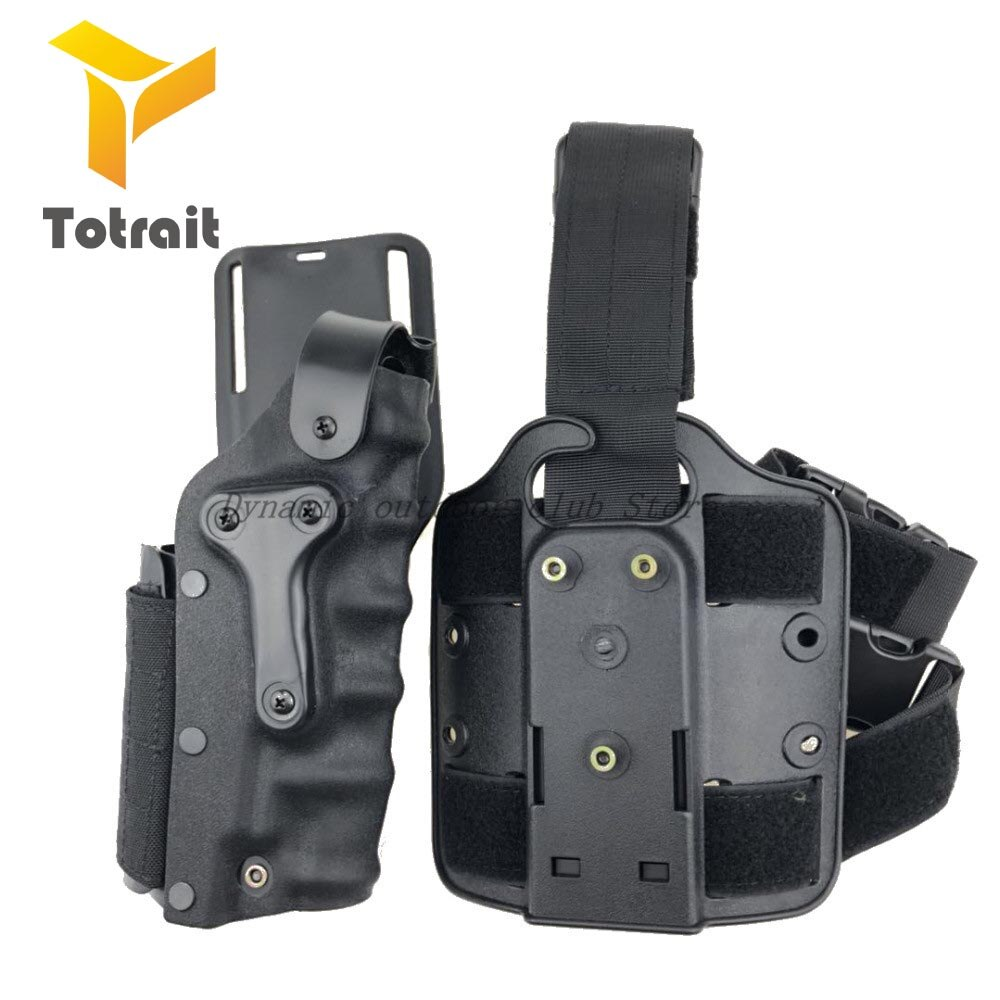 Tactical Gun Holster Set w/ leg Platform Hunting Right Left Hand Use Drop Leg Hoster for GL 17 19 / 1911 / M92 M9/P226 balack/TA