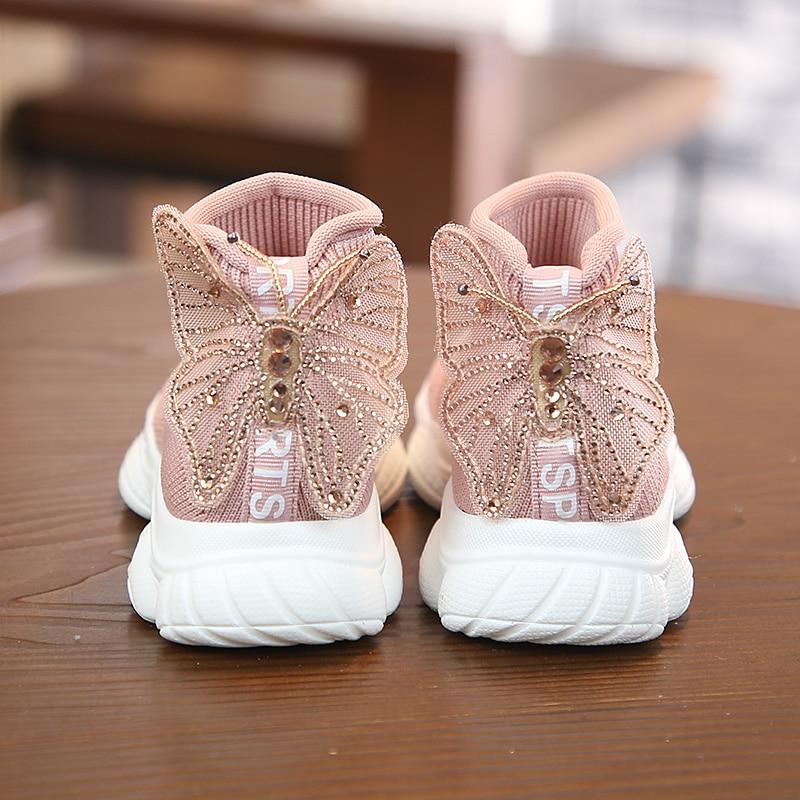 أحذية رائعة للأطفال ، أحذية رياضية مسطحة وغير رسمية على شكل فراشة مرصعة بأحجار الراين ، بنمط الأميرة