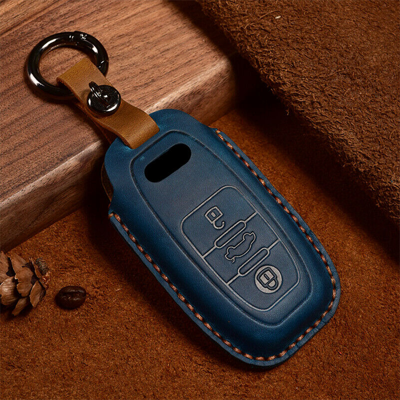Auto Car Styling Leather Key Case For Audi A1 A3 A4 A5 Q7 A6 C5 C6 Holder Shell Remote Cover Car-Styling keychain