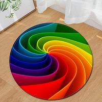 Modern Round Carpet Computer Chair cushion Kids Room Carpet 3D Printing Bedroom Floor Bedside Mat Living Room Decoration Rug