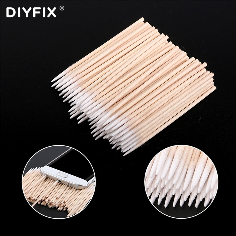 DIYFIX Ultra-thin Cotton Swab Small Tip Pointed For Apple Huawei Samsung Mobile Phone Charging Port Headphone Hole Cleaning Tool