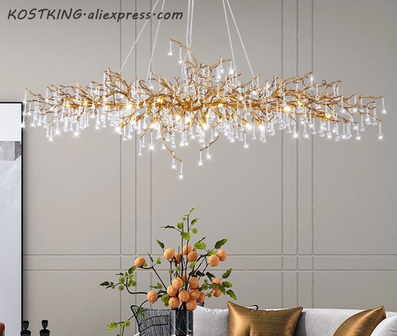 Modern Copper Chandelier Glass Drop Copper Chandelier Lighting LED Pendant Hanging Light Living Dining Room Chandelier Light
