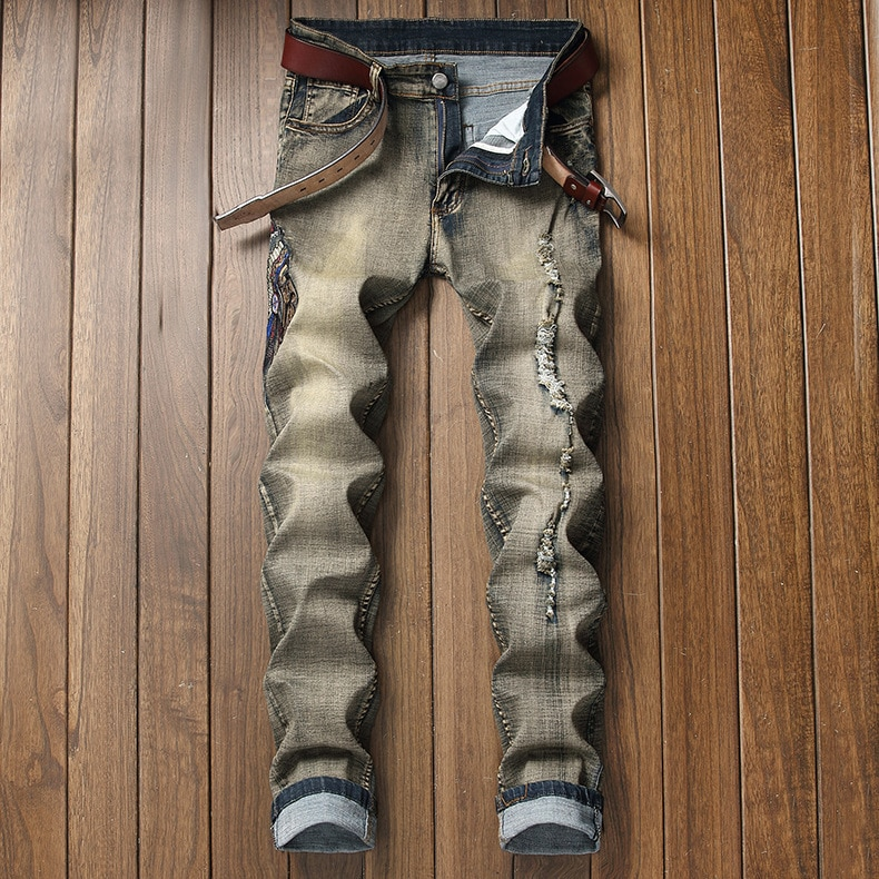 Мужские черные джинсы мужские байкер мото джинсы Slim Fit прямые состаренные джинсы брюки роскошная мужская одежда хип хоп джинсы