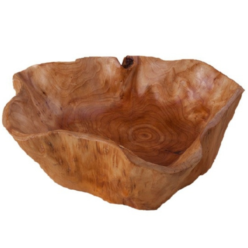 Бытовая чаша для фруктов, деревянная тарелка для конфет, тарелка для фруктов, тарелка для фруктов с резьбой по дереву, 20-24 см-0